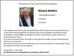 Nachruf Richard Wittlich